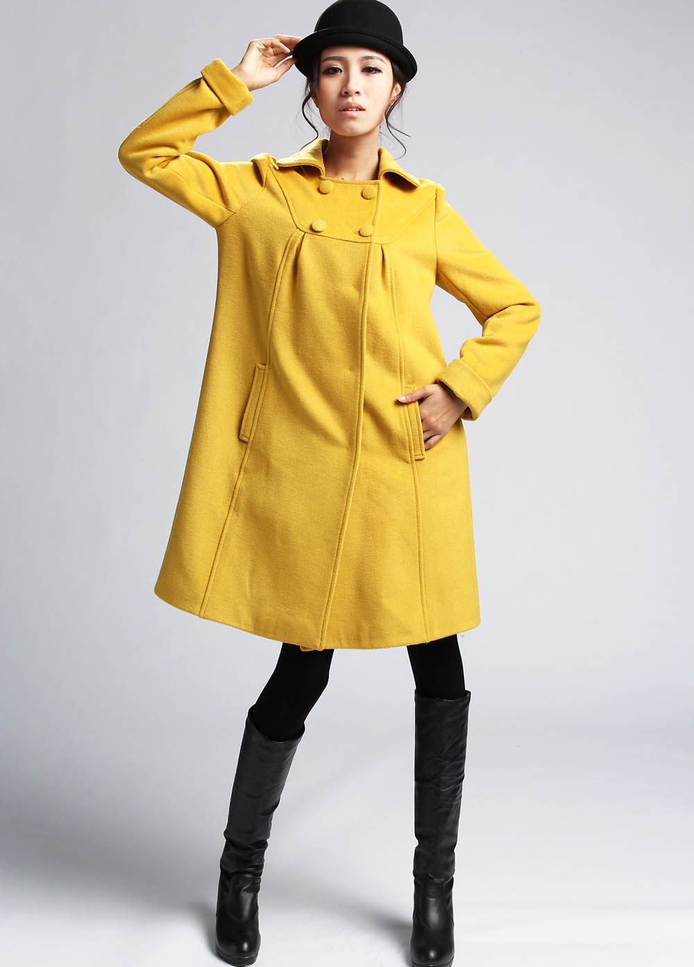 mustard coat wool jacket cashmere coat wool coat