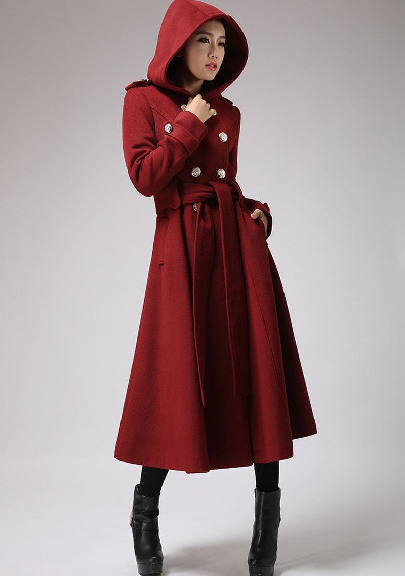 Red coat cashmere coat winter coats hooded coat Military