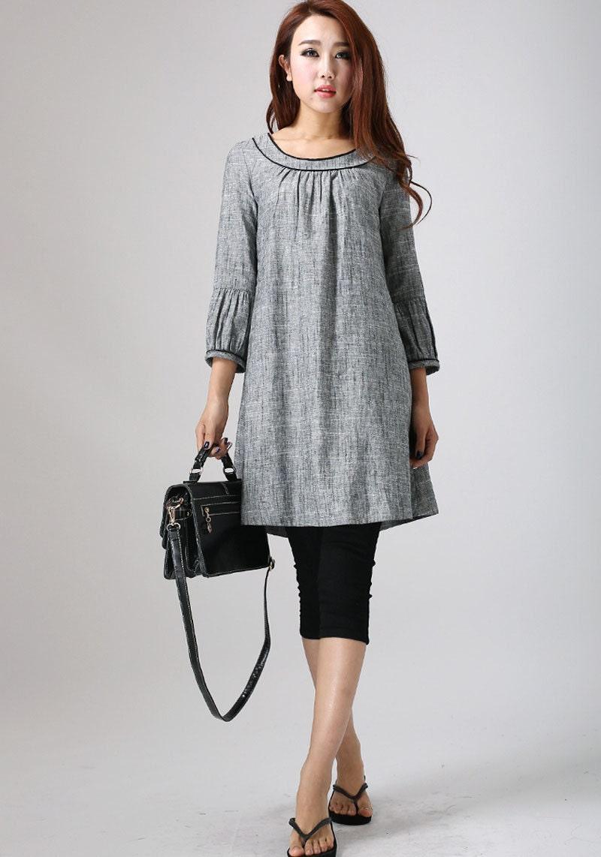 Linen Tunic dress Grey dress Mini Dress Tunic top womens