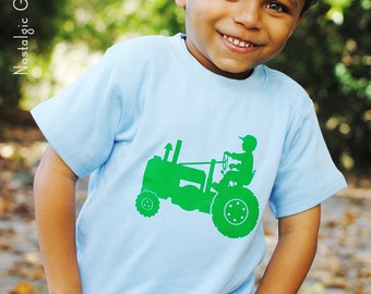 Tot on a Tractor Short Sleeved Crew Shirt by Nostalgic Graphic Tees - Sky with Green