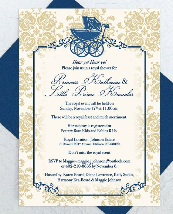 Baby Shower Invitation Royal Baby Shower Baby Carriage