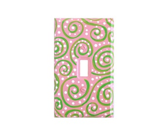 PINK and GREEN Light Switch Cover