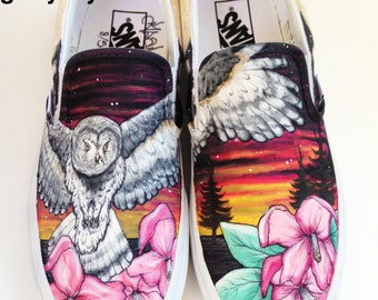 Custom Vans- Owl with Flowers and Sunset