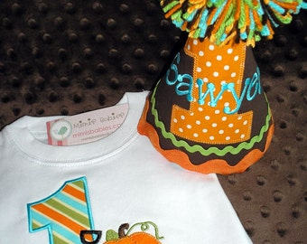 Pumpkin Birthday Shirt and Hat for Fall Birthday  Orange Aqua Green and Brown