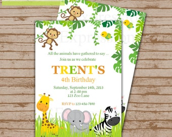 Jungle Animal Birthday Invitation