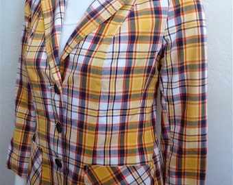 Vintage Women's 80's Jacket, Plaid, Yellow, Long Sleeve, Button Up (XS-S)
