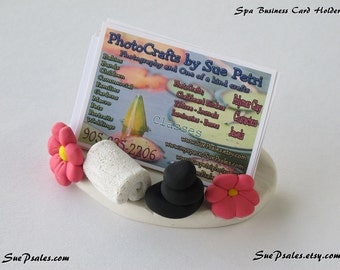Spa Business card holder, polymer clay business card holder for spa owners, spa business card holder