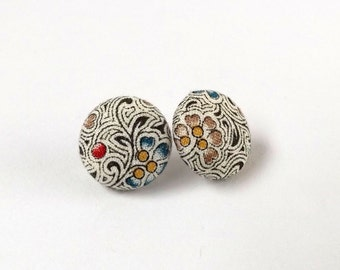 Black and White Stripe Pattern Blue Red Floral Print Vintage Fabric Button Stud Earrings, 15mm or 19mm