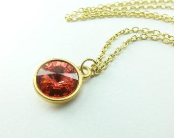 Summery Dark Peach Gold Necklace Swarovski Crystal