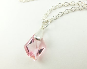Dainty Pink Crystal Necklace Sterling Silver Necklace