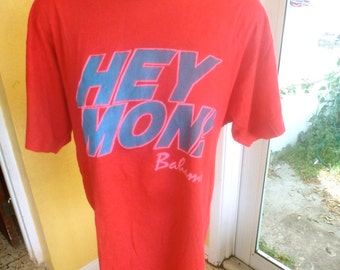 HEY MON Bahamas 1980s vintage tee shirt - red size L