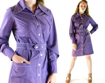 Vintage 70s Dress MOD COLLAR Shift Dress Button Front Purple Dress 1970s Mod Dress Long Sleeve Shirtdress Boho Minidress S / M