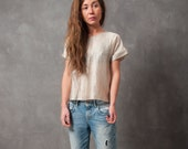 Woven gold top - woven t-shirt with fold-up sleeves