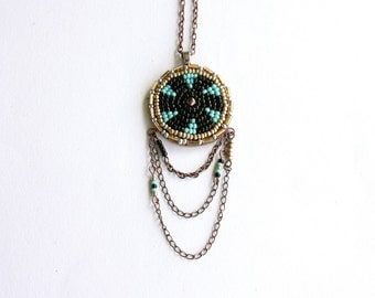 Luck Medallion Necklace - turquoise and gold leather fringe necklace, southwestern jewelry, gold medallion necklace, clearance sale