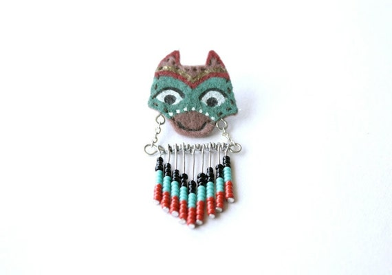 Wolf Totem - animal totem pin, spirit animal brooch, felt animal head, orange turquoise, beaded chevron, forest animal, canus lupus