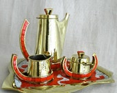 Brass & Tile Coffee Set with Tray by Salvador Teran