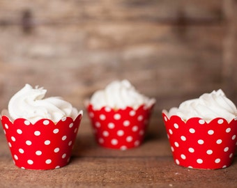 12 Red Polka Dot Cupcake Wrappers - Red Cupcake Wrappers - Great for Birthday Parties, Baby Showers & Bridal Showers