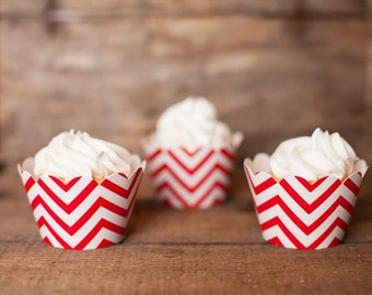12 Red Chevron Cupcake Wrappers - Red Cupcake Wrappers - Chevron Cupcakes - Great for Birthday Parties, Baby Showers & Bridal Showers