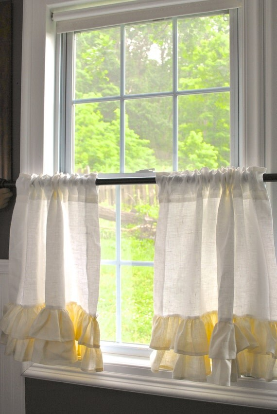 Linen Cafe Curtains By Paulaanderika On Etsy