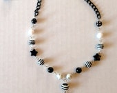 Black and White Beaded Star Necklace