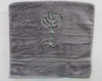 Gray Hand Towel with Embroidered 7-branched Menorah Good for HIgh Holidays and all year long