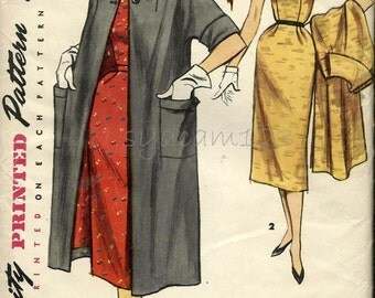 Vintage 1950s Scalloped Neckline Dress and Coat Pattern Large Collar Two Button Dress Coat 1955 Simplicity 1049 bust 32