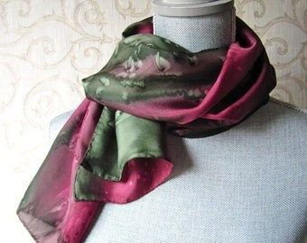 Hand Painted Silk Scarf in Olive and Burgundy