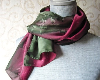 Handpainted Silk Scarf in Olive and Burgundy