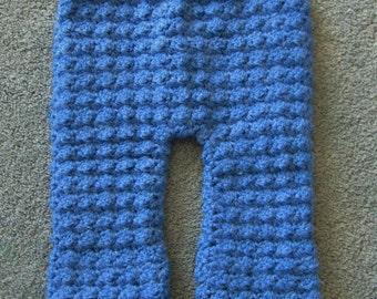 Crocheted Blue Baby Pants, Size 0-3 Month