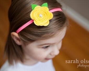 Yellow Rose Felt Flower with Hot Pink Elastic headband