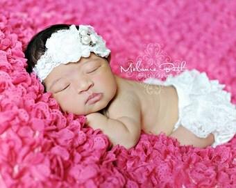 White Flower Headband, White Lace Rosettes w/ Rhinestone & Pearl Center Headband, Baptism, Christening, Baby Toddler Child Girls Headband