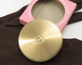 Margaret Rose Gold Tone Compact Vintage 1950s Powder Compact in Original Box