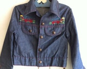 vintage children's embroidered jean jacket