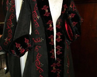 Renaissance, Pirate, Frock Coat, Custom Embroidery, Men's or Womens, LAY AWAY AVAILABLE
