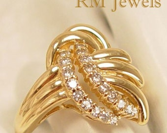 Dazzling Array - Diamond 14Kt Gold Vintage Estate Ring Size 7.5