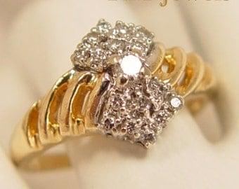 Bowtie Sparkler - Vintage Diamond Cluster 14Kt Gold Ring