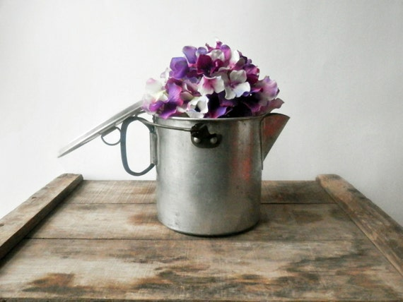 Vintage Tea Kettle, Grease Pot, Rustic Kitchen, Mirro Aluminum Pitcher, Camping, Shabby Chic
