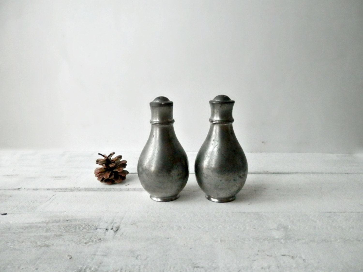 Pewter Salt And Pepper Shakers Rustic Decor Shabby By