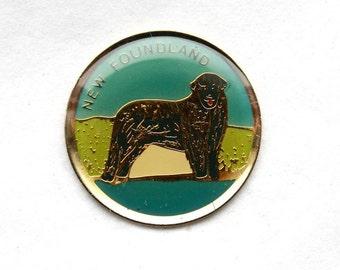 3 Vintage 1960s Enameled Brass Newfoundland Charms // Souvenir of Canada // Newfoundland Dog
