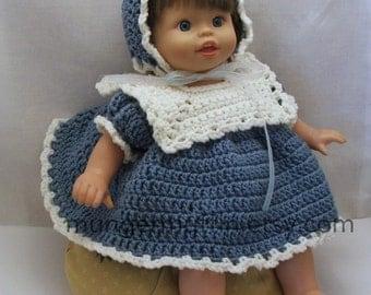 "Crocheted dusty blue dress fits 14"" to 16"" dolls"