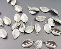 4 small leaf charms, realistic nature leaf charms for jewelry making, earrings, necklaces, bracelets 1565-MR-SM (matte silver, SM, 4 pieces)
