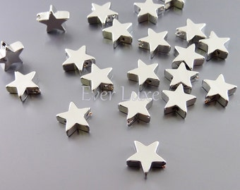 4 SHINY silver 8mm star metal beads / beading supplies, wholesale beads, jewelry jewellery supplies 1803-BR-8 (bright silver, 8mm, 4 pieces)