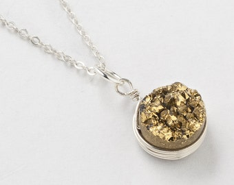 Druzy Necklace Gold Quartz Agate Gemstone wire wrapped bezel Silver pendant Necklace Statement Necklace jewelry Gift Steampunk Nation 2303