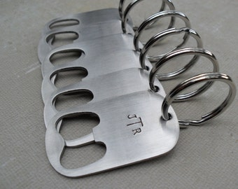 10 Groomsmen Gifts Steel Bottle Openers Custom Initials Set of Ten Wedding Groomsmen Gifts