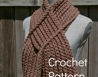 Crochet Pattern Keyhole Scarf Instant Download