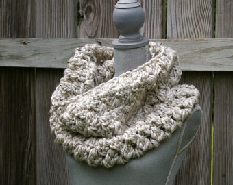 The Cozy Cowl Scarf, Circle Scarf in Wheat Tweed