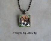 Custom Photo Scrabble Necklace Gunmetal Black - Memorial Charm - Chain Included