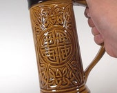 Celtic Beer Mug - Stein with Amber Glaze (24oz) Handcrafted Stoneware Pottery for Celebrations, Weddings, Anniversaries, Renaissance Stein