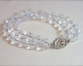 Bridal Jewelry, Faceted Crystal Bracelet, Art Deco Wedding jewelry double strand crystal bracelet, elegant crystal clasp 1930s 1920s jewelry