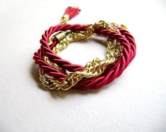 Wrap wine red cord tassel bracelet  - Next to me - Bracelet, double wrap, chunky chain, tassel bracelet